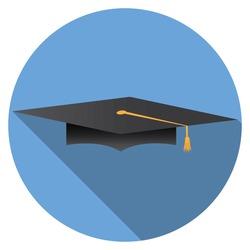 Flat design modern vector illustration of graduation cap icon