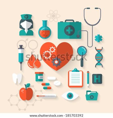 Flat design modern vector illustration of medical icons