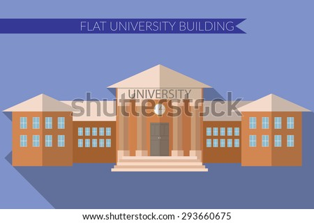 Flat design modern vector illustration of University building icon, with long shadow on color background.