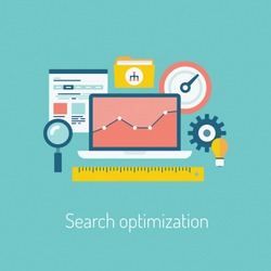 Flat design modern vector illustration poster of the SEO website searching optimization process with web page, laptop and other icons. Isolated on stylish color background