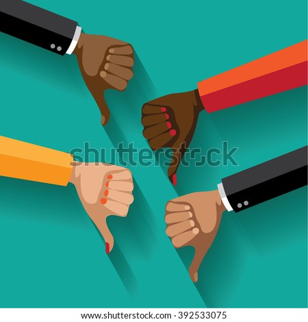 Flat design multicultural group thumbs down. EPS 10 vector.