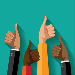 Flat design multicultural group thumbs up. EPS 10 vector.