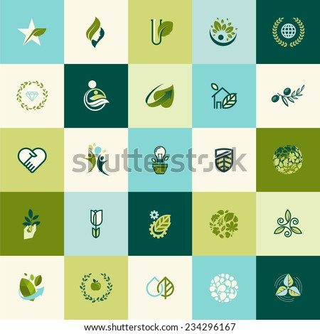 Flat design nature icons for websites, print and promotional materials, web and mobile services and apps, for food and drink, spa, cosmetics, wellness, natural product, healthy life, green technology.