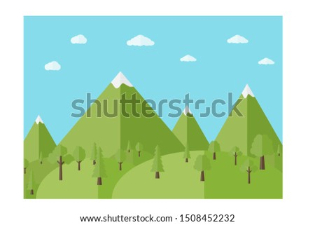 flat design Nature landscape with mountain and trees