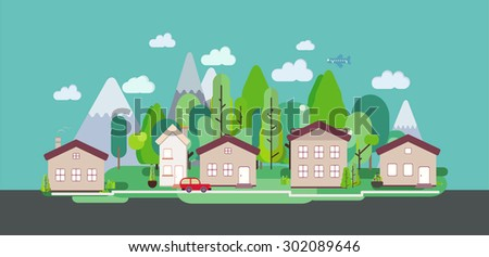 Flat design nature landscape with trees buildings mountains