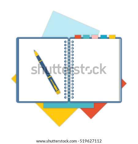 Flat design notepad and paper sheets isolated on white background whit place for text. School vector background with an open notebook.