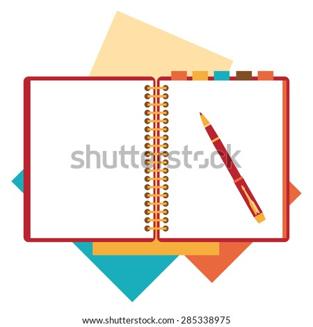 Flat design notepad, paper sheet isolated on white background whit place for text.
