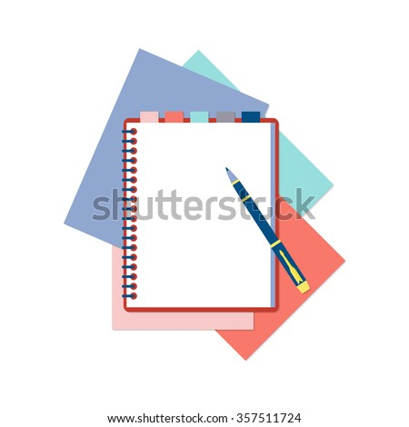 Flat design notepad with tabs, pen and color sheets of paper isolated on white background with place for text.