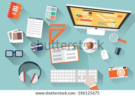 flat design objects  work desk
