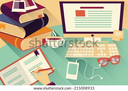 Flat design objects work desk office desk books computer and stationery