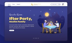 Flat design of a Muslim family's iftar party for Ramadan concept on landing page background