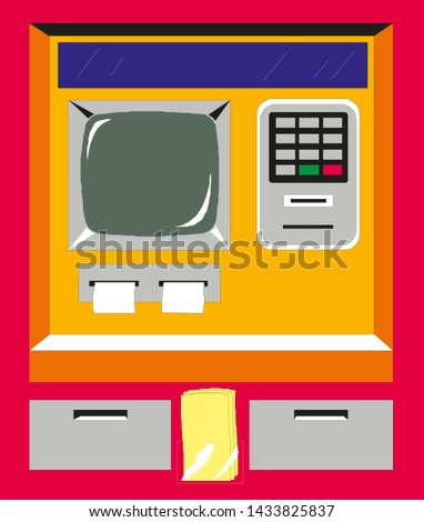 Flat design of ATM machine Entered PIN.Using automat terminal. Vector illustration.