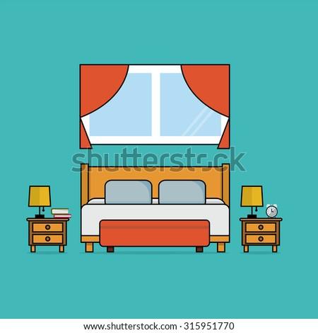 flat design of bedroom