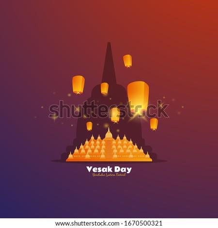 Flat design of Borobudur temple and lantern festival for Vesak day greeting
