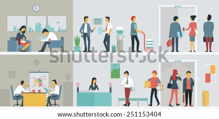 flat design of business people
