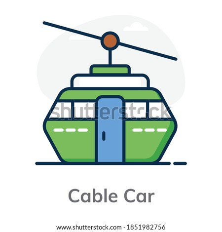 Flat design of cable car icon showing the concept of adventure