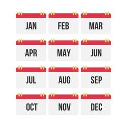 Flat design of calendar month icon set. Vector Illustration.