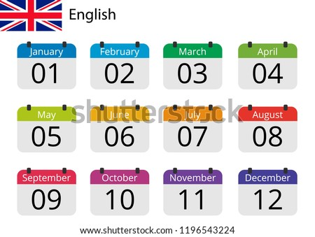 Flat design of calendar months icon set on English with number month. Color vector illustration.
