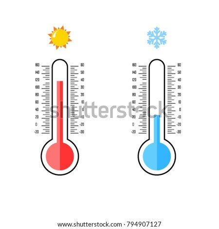 Flat design of celsius and fahrenheit meteorology thermometers. Measuring hot and cold temperature. Snowflake, sun icons. Vector illustration.