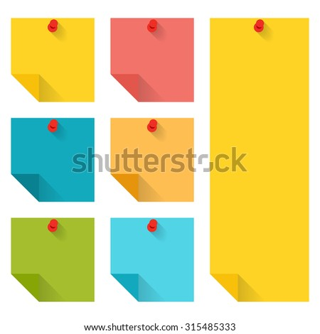 Flat design of colorful pinned sticky notes. infographics elements isolated on white background.