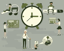 Flat design of digital lifestyle concept,Many person sitting around the huge analog clock,Technology makes every activity in human life very comfortable - vector illustration