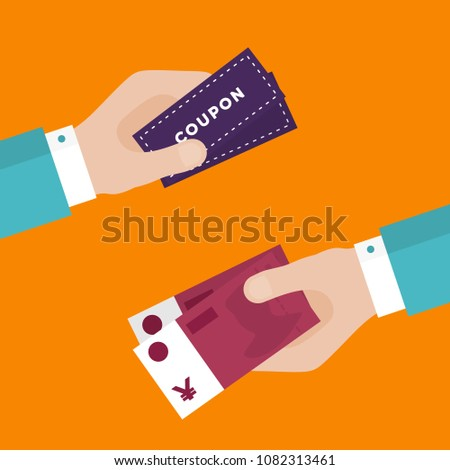 Flat Design of Exchange Coupon and Chinese Yuan. Hand Holding Banknotes and Getting Coupons. E-commerce Business Idea concept. Isolated Vector illustration