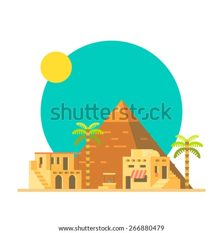 flat design of great pyramid of