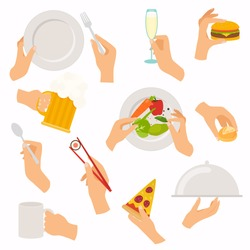 Flat design of hand icons set. Concept of hand hands hold different food and drink: beer, burger, bread, sushi, glass, salad, plate. Vector illustration.