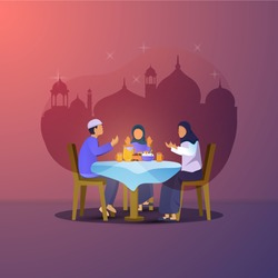 Flat design of iftar party with family for Ramadan greeting postcard, Illustration of Muslim families are breaking the fast together