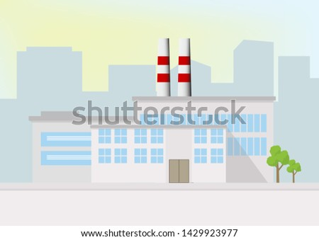 flat design of Industry building or Factory  with facilities