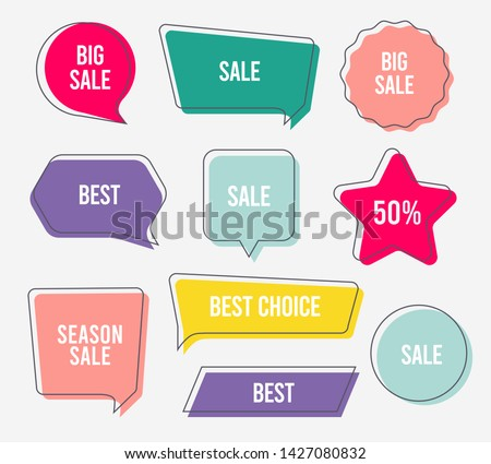 Flat design of labels, ribbon banners, Banner Web Sticker illustration.
