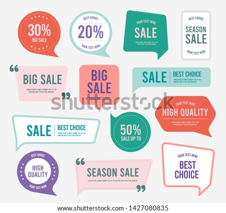 Flat design of labels, ribbon banners, Banner Web Sticker illustration. #1427080835