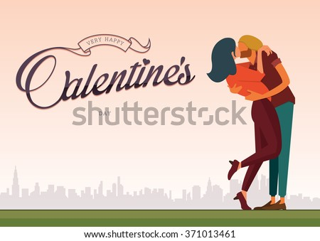 flat design of loving couple