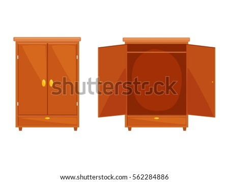 Flat design of open and closet wardrobe  icon isolated. Vector illustration.