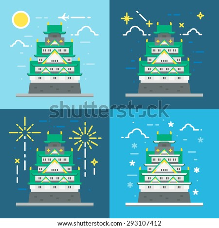 flat design of osaka castle