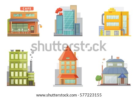 Flat design of retro and modern city houses. Old buildings, skyscrapers. colorful cottage building, cafe house.