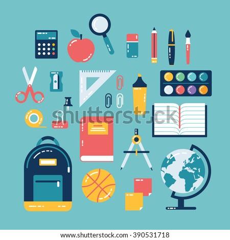 Flat design of school supplies. Calculator, apple, magnifier, eraser, pens, brush, scissors, ruler, notebook, backpack, globe, watercolor. - stock vector