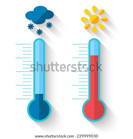 Flat design of Thermometer measuring heat and cold, with sun and snowflake icons, vector illustration