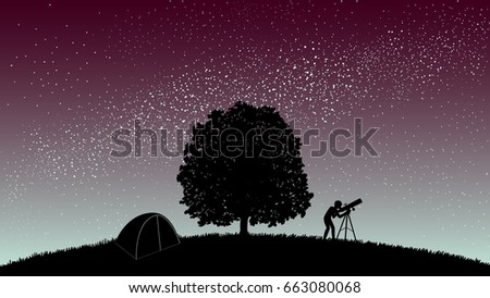 flat design of tree  tent  man