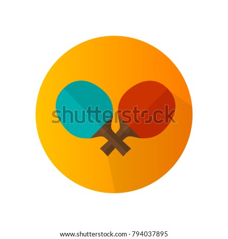 Flat design of two colorful table tennis rackets vector icon.