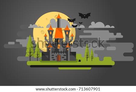 flat design of vector halloween