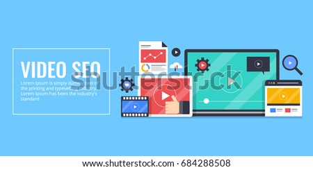 Flat design of Video SEO, video marketing, movie clip promotion, on-line video vector banner with icons isolated on blue background #684288508