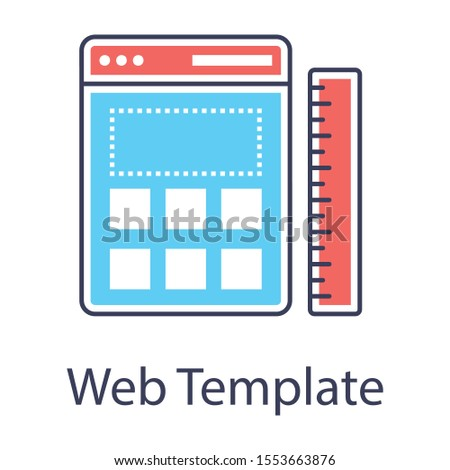 flat design of web interface as a web template icon