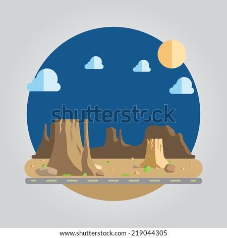 flat design of western desert