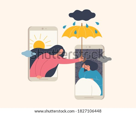 Flat design of woman holding umbrella on her upset friend on mobile phone screen, representing a woman helping and comforting her friend over phone