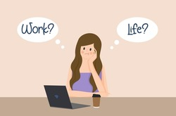 Flat design of 'work life balance' concept, beautiful Asian business woman is thinking how to balance her life, Balancing life, work and life.