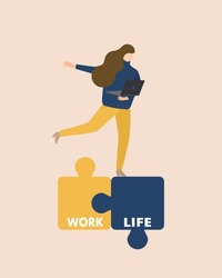 Flat design of 'work life balance' concept, business working woman is trying to balance between work and life. Jigsaw puzzle connected work and life. Woman's holding laptop wearing navy sweater.