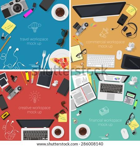 flat design office workspace