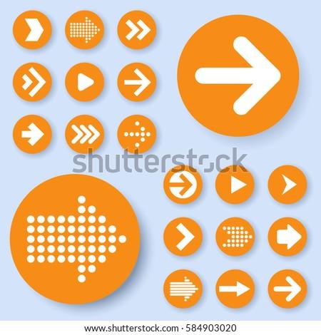 Flat design orange arrow icon set. Vector. #584903020
