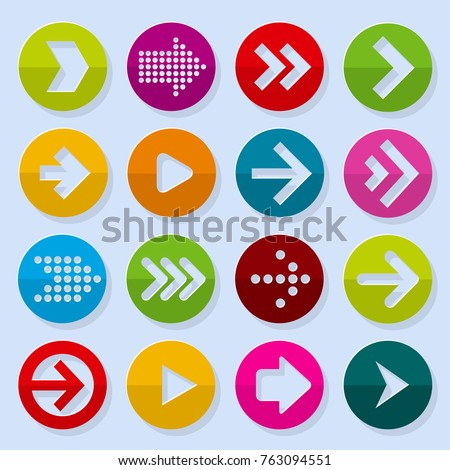 Flat design paper arrow icon vector template desigyn element set.